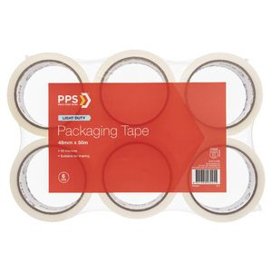 PPS 48mm x 50m Mailing Packaging Tape Clear 6 Pack