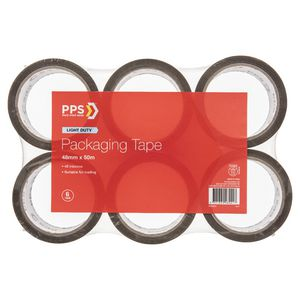 PPS 48mm x 50m Mailing Packaging Tape Brown 6 Pack