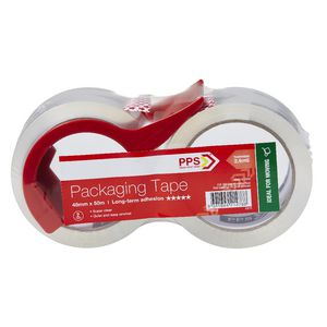 PPS 48mmx50m Clear Moving Packaging Tape and Dispenser 2 Pack