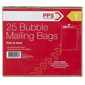 PPS Size 1 Bubble Mailing Bags 25 Pack