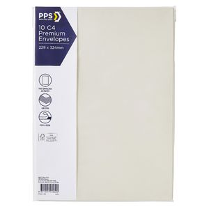 PPS C4 Printed Coloured Envelopes Bone White 10 Pack