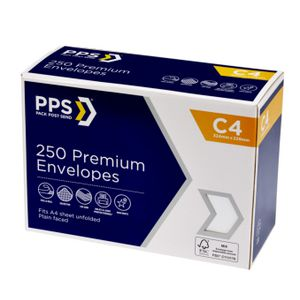 PPS C4 Premium Envelopes 250 Pack