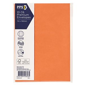 PPS C6 Printed Coloured Envelopes Vibrant Orange 10 Pack