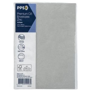PPS C6 Printed Coloured Envelopes Zinc 10 Pack