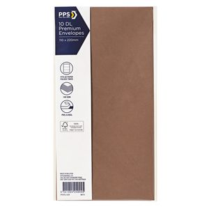 PPS DL Printed Coloured Envelopes Copper 10 Pack