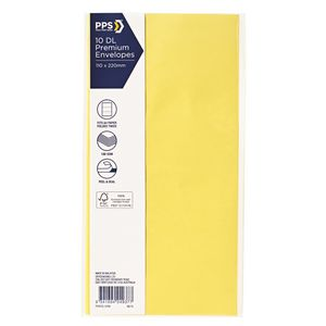 PPS DL Printed Coloured Envelopes Vibrant Yellow 10 Pack