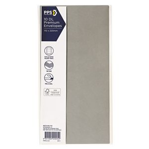 PPS DL Printed Coloured Envelopes Zinc 10 Pack