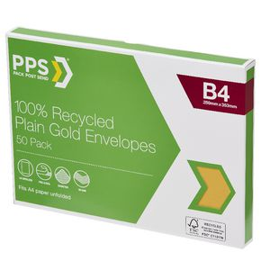 PPS B4 Plain Faced 100% Recycled Envelopes 50 Pack Gold