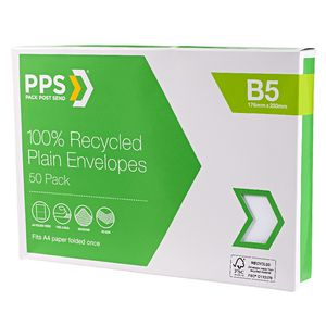 PPS B5 Plain Faced 100% Recycled Envelopes 50 Pack