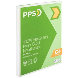 PPS C4 Plain Faced Gold 100% Recycled Envelopes 25 Pack