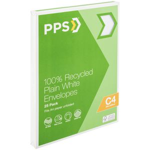 PPS C4 Plain Faced 100% Recycled Envelopes 25 Pack