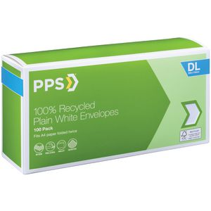 PPS DL Plain Faced 100% Recycled Envelopes 100 Pack
