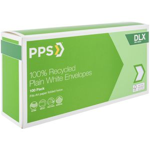 PPS DLX Plain Faced 100% Recycled Envelopes 100 Pack