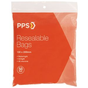 PPS 130 x 200mm Resealable Bags 50 Pack