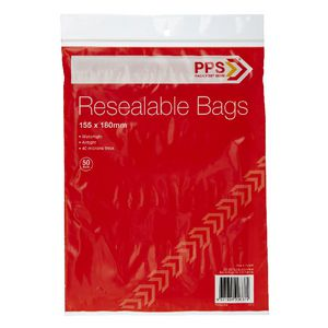 PPS 155 x 180mm Resealable Bags 50 Pack