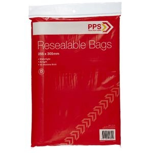 PPS 255 x 305mm Resealable Bags 25 Pack