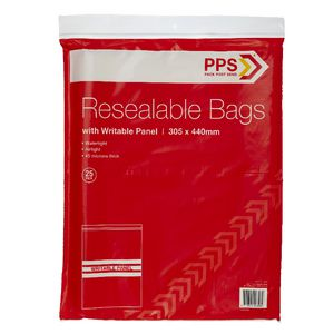 PPS 305 x 440mm Resealable Bags with Writable Panel 25 Pack