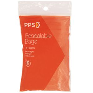 PPS 40 x 50mm Resealable Bags 50 Pack