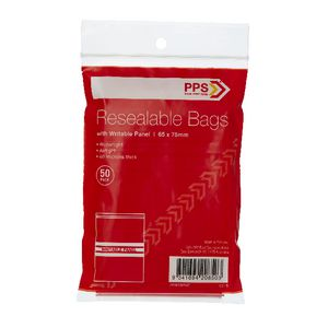 PPS 65 x 75mm Resealable Bags with Writable Panel 50 Pack