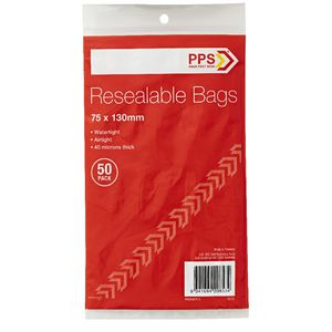 PPS 75 x 130mm Resealable Bags 50 Pack