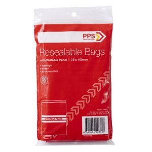 PPS 75 x 100mm Resealable Bags with Writable Panel 50 Pack