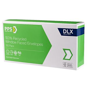 PPS DLX Window Faced 100% Recycled Envelopes 100 Pack