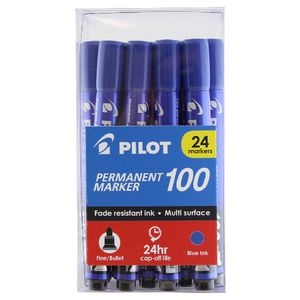 Pilot 100 Permanent Marker Blue 24 Pack