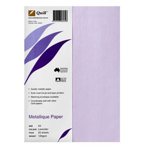 Quill Metallique Paper 120gsm A4 Lavender 25 Sheets