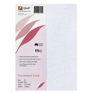 Quill 176gsm A4 Parchment Paper Blue 25 Pack