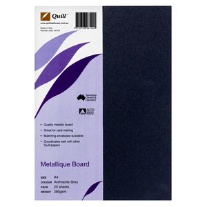 Quill 285gsm A4 Metallique Board Anthracite Grey 25 Pack