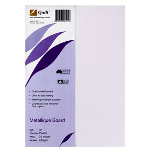 Quill 285gsm A4 Metallique Board Peridot 25 Pack