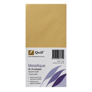 Quill Metallique DL Envelopes Autumn Gold 10 Pack
