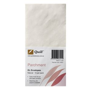 Quill Parchment Envelopes DL Natural 10 Pack