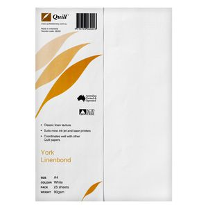 Quill 90gsm A4 Linen Bond Paper White 25 Pack