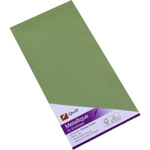 Quill Metallique DL Envelopes Fairway Green 10 Pack