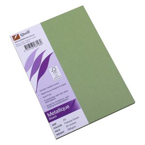 Quill Metallique Board 285gsm A5 Fairway Green 25 Pack
