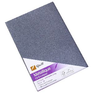 Quill Metallique C6 Envelope Anthracite Grey 10 Pack