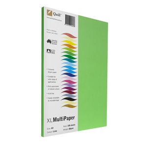 Quill Coloured Paper 80gsm A4 Lime 100 Pack