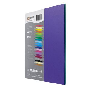 Quill Xl MultiBoard 210gsm A4 Assorted Cool Colours 50 Pack