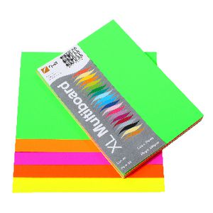 Quill XL MultiBoard 210gsm A5 Fluoro Assorted 50 Pack