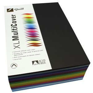 Quill 125gsm A4 Cover Board Assorted Colours 500 Sheets