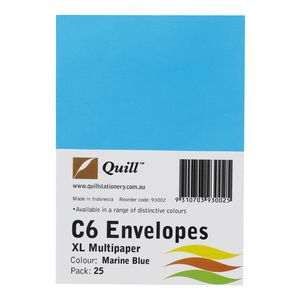 Quill Plainface C6 Envelope Marine Blue 25 Pack