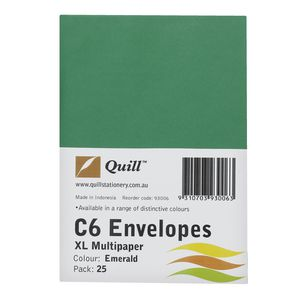Quill Plainface C6 Envelope Emerald 25 Pack