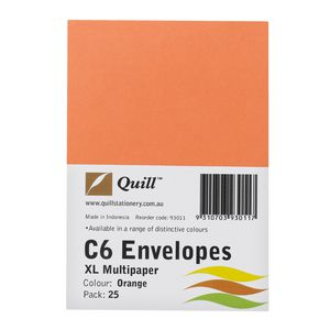 Quill Plainface C6 Envelope Orange 25 Pack