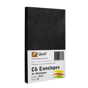 Quill Plainface C6 Envelope Black 25 Pack