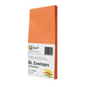 Quill Plainface DL Envelope Orange 25 Pack