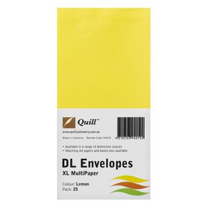 Quill Plainface DL Envelope Lemon 25 Pack