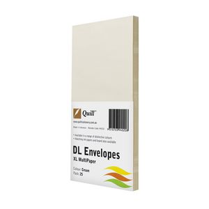 Quill Plainface DL Envelope Cream 25 Pack