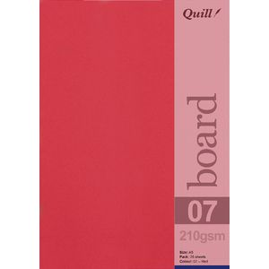 Quill A5 210gsm Board Red 25 Pack