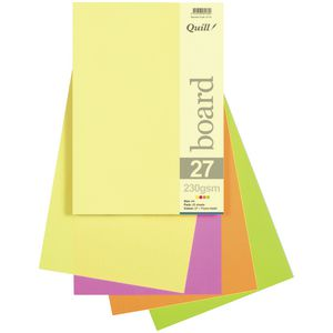 Quill A4 230gsm Board Fluoro Assorted 25 Pack